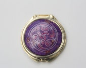 """Compact Mirror Acrylic Painting - """"Pink Celtic Swirl"""" - Useable Art by Deb Ritchie - WildEthereal"""