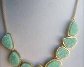 Aquamarine Seafoam Green Mint  Druzy Statement Necklace. Modern gifts for her. Bridesmaids jewelry.