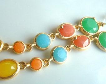 SALE- Pastel Green Pink Blue Orange Yellow Gold Bezel   Oval Charm Long Dangle Jewel Earrings I 155
