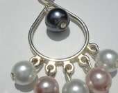 Black Pink and White Silver Chandelier Earrings, Glass Pearl, Rosy Trinkets, three pearls, lightweight