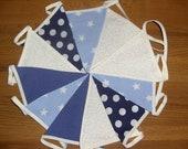 Blue Star and Spot British Handmade Fabric Bunting