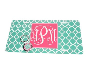 Personalized Monogram License Plate Car Tag & Matching Key Chain - Custom Made - Design your own