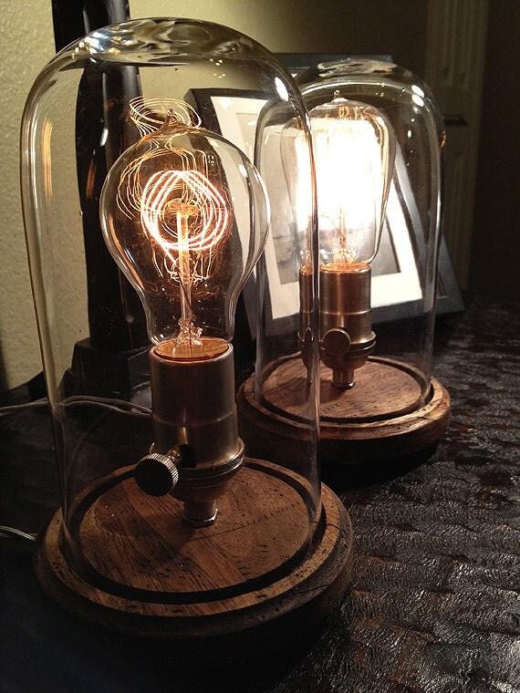 set of 2 edison style desk lamps. Black Bedroom Furniture Sets. Home Design Ideas