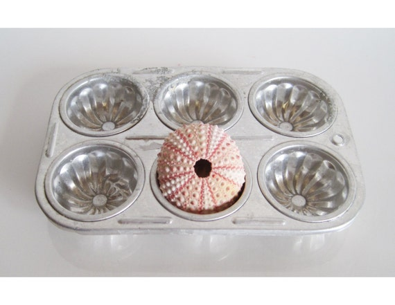 vintage aluminum candy making tray mold silver color
