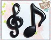 4pcs Black Music Note Flat back Craft Art Cabochon Deco set HDC5554D