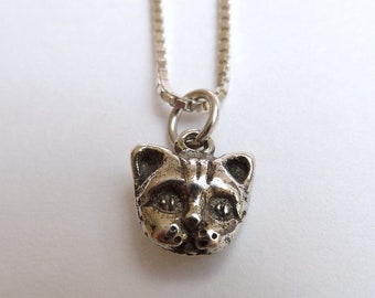 Sterling Silver Cat Face Necklace