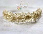 Pearl Fairy Halo Flower Headband in Gold - Newborn Baby Prop