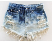 HIGH WAISTED SHORTS ombre bleached, and distressed.