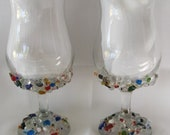Beaded Multi Colored Wine Glass Goblet Set