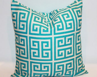 TURQUOISE GREEK KEY Pillow Cover - Any Size Available - Decorative Toss Pillow