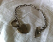 Classic Toggle Bracelet with Solid Brass Puffed Heart Charm