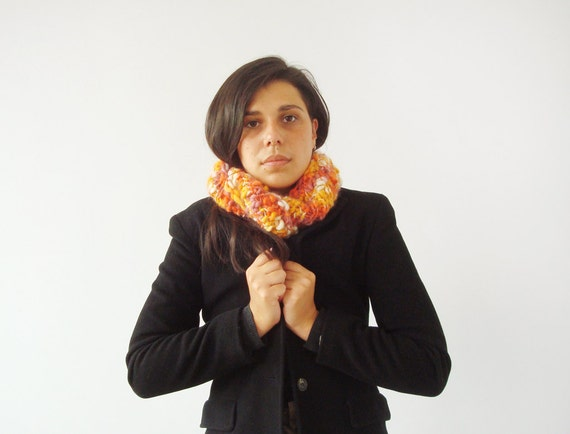Knit cowl scarf - wool chunky neck warmer in yellow, orange, purple and white