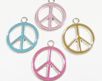 Mixed set of 4 PEACE SIGNS 29x26x2mm