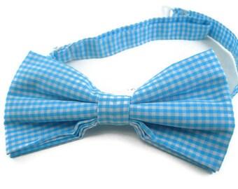 Aqua blue ginham bowtie