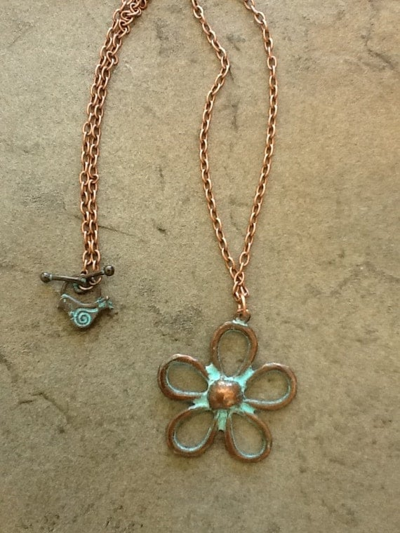 Holiday Sale - Fall Copper Turquoise Patina Flower Bird Necklace