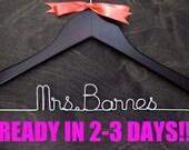 Wedding Hanger, Bridal Hanger, Personalized Hanger, Bridal Gift, Wedding Name Hanger, Dress Hanger, Wooden Hanger, Bridal Gift, WALNUT