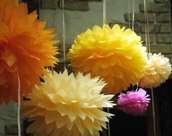 75 Tissue Paper Pom Poms - Choose your Colors - Wedding Decor - Party Decor - Home Decor