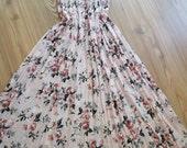 Handmade   - Vintage Roses - Maxi Skirt - Dress.......Pink  - Beige