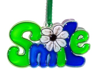 ORNAMENT - SMILE- Acrylic - Green - Blue - Black - White - Handpainted Home Decor