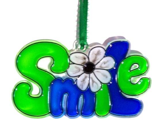 ORNAMENT - SMILE- Acrylic - Green - Blue - Black - White - Handpainted Home Decor