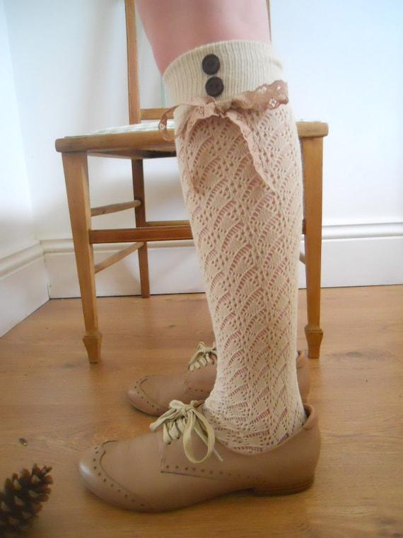 Vintage Lolita Style Lacy Knit beige Cream Knee Socks Vintage Lace 1 pair