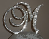 Gorgeous Swarovski Crystal Cake toppers 4'' with crystals added on sides in Any Letter