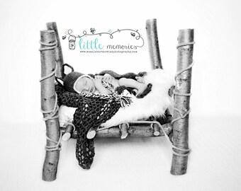 Crochet Wolf Beanie/ Hat Newborn Baby 3 Set Photo Prop Photography