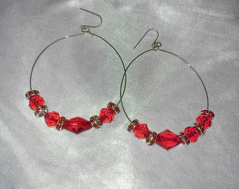 handmade red mini basketball wife earrings