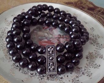 Black Pearl bracelets, handmade