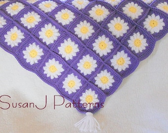 Crochet Pattern - Flowers for Granny - Baby Afghan in PDF