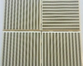 Tile Coaster Set of Four Black and Cream Striped Coasters with Cork Backing