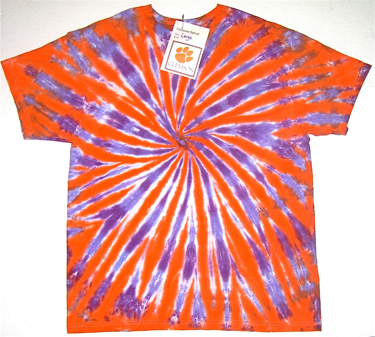 clemson tie dye shirt orange and purple tiger stripe spiral