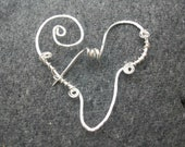 Silver Brooch or Pin. Scrolled Heart Design. Great Anniversary or  Birthday gift. Handmade. OOAK.