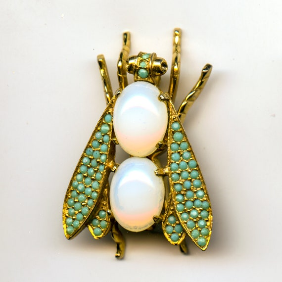 Vintage Les Bernard Bug, Bee, Fly Goldtone and Rhinestone pin