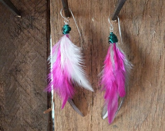 Pink, Grey and White Dangle Feather Earrings