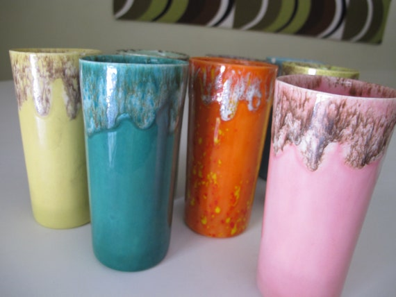 8 drippy colorful ceramic tumblers / glasses / pottery
