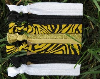 7 Pack Black Gold Glitter Zebra Print Knot Hair Ties Stretch Fold Over Elastic FOE Pony Tail Holder Bracelet 123
