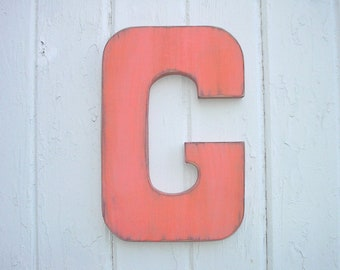 "Wooden Wall Letters G Big 12"" Letter Orange Vintage Style Shabby Chic Kids Wall Art Block font"