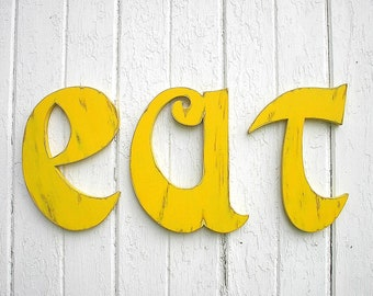 Kitchen eat sign Wooden Big Letters 12 inch Wall Hanging Wall Decor Letters Yellow Shabby