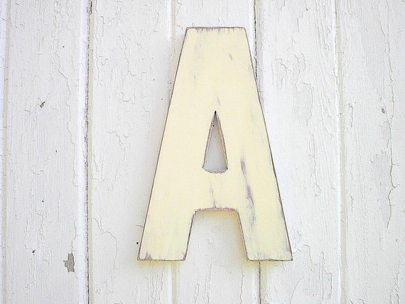 Letter A Wood Sign Rustic Wedding Decor Photo prop White Wall Hanging Shabby Cottage Chic