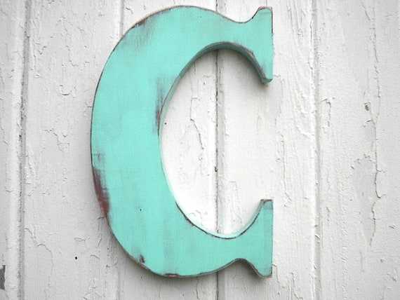 wooden letters c 12 inch patina wall decor kids