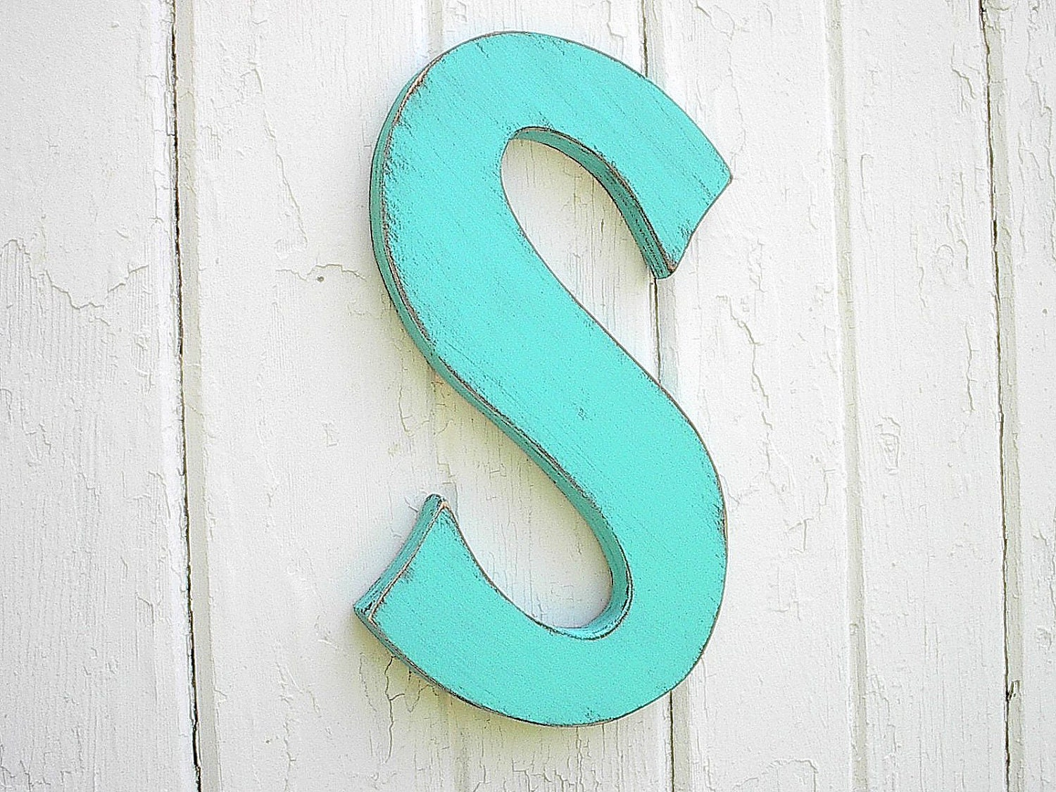 Letter s for nursery decor or kids wall art shabby chic wall for Large letter k wall decor