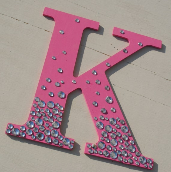 9 hot pink bling sparkle wall letters for Sparkly wooden letters
