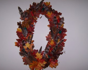mancave wreath/shotgun shell lights wreath/falcon feather wreath/hunting wreath/