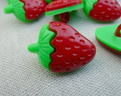 Red buttons / strawberry buttons - 10 buttons