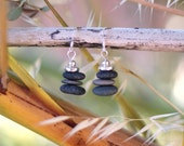 Pebble stack Cairn Beach Stone Earrings.