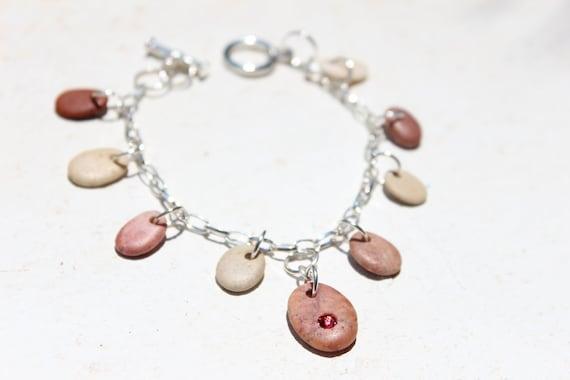 Strawberry Creams Beach Stone Pebble Charm Bracelet