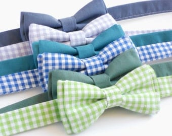 Child bow ties for summer, green gingham bow tie, purple gingham, blue gingham, boys wedding attire, ring bearer bow tie