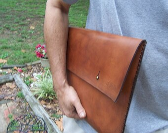 15 inch Laptop Sleeve... with Button Stud Closure. Macbook Pro or Any 15 inch laptop. Full Grain Leather Handmade By Baytowne Leather.