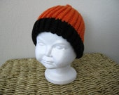 Go Giants -- Hand-Knit Orange & Black Infant Hat
